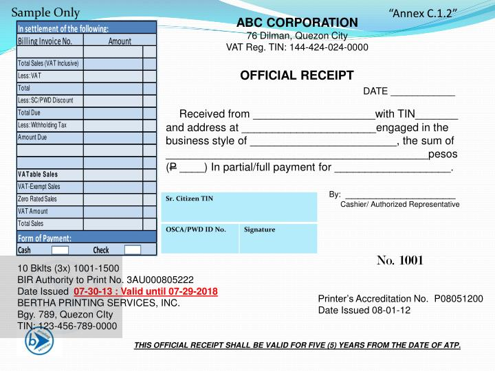 PPT THIS OFFICIAL RECEIPT SHALL BE VALID FOR FIVE 5 YEARS FROM – Sample Official Receipt