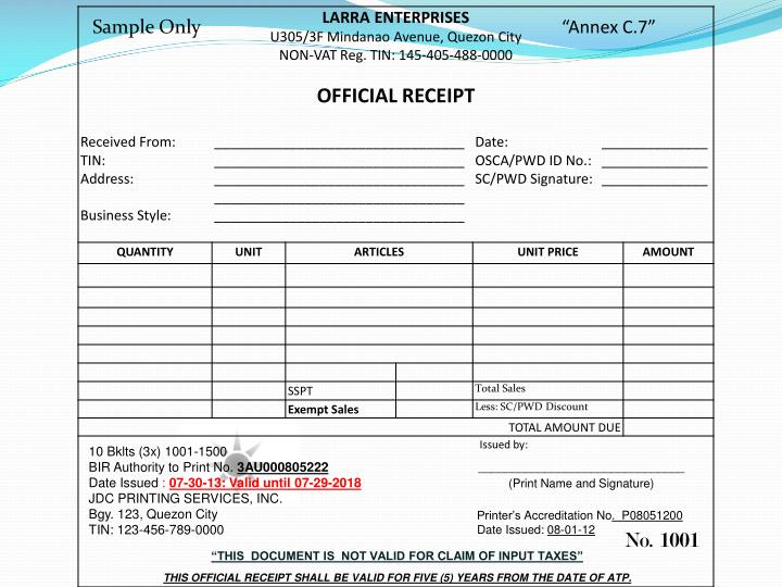 Doc600606 Sample of Official Receipt Doc707427 Sample – Official Receipt Sample