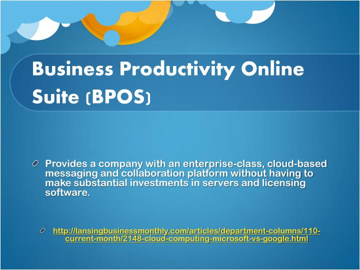 Business Productivity Online Suite (BPOS)