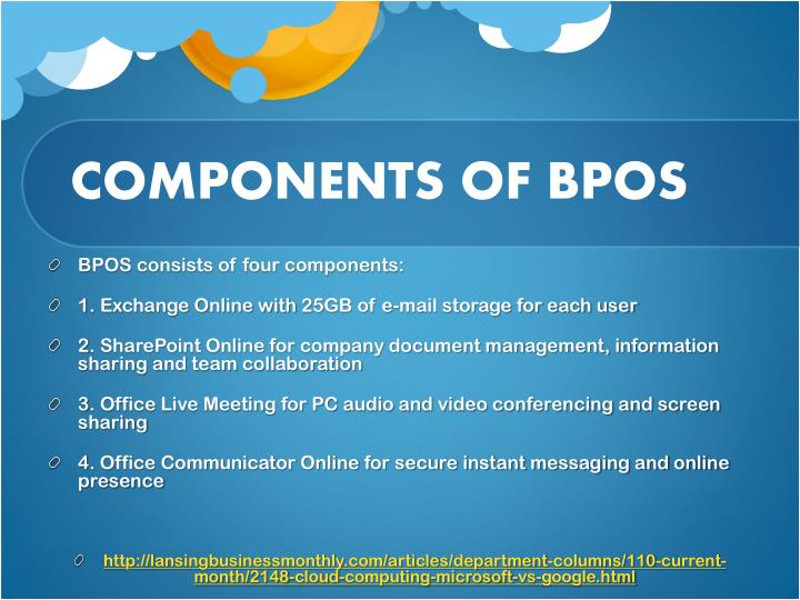 COMPONENTS OF BPOS
