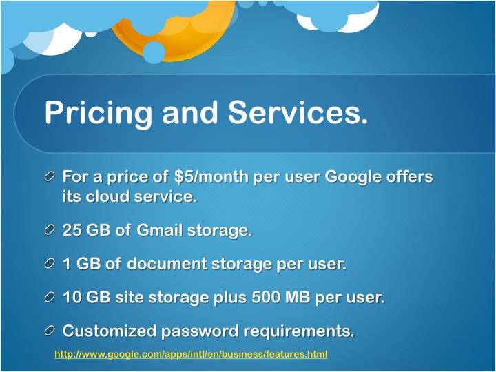 Pricing and Services.