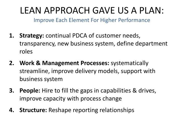 LEAN APPROACH GAVE US A PLAN: