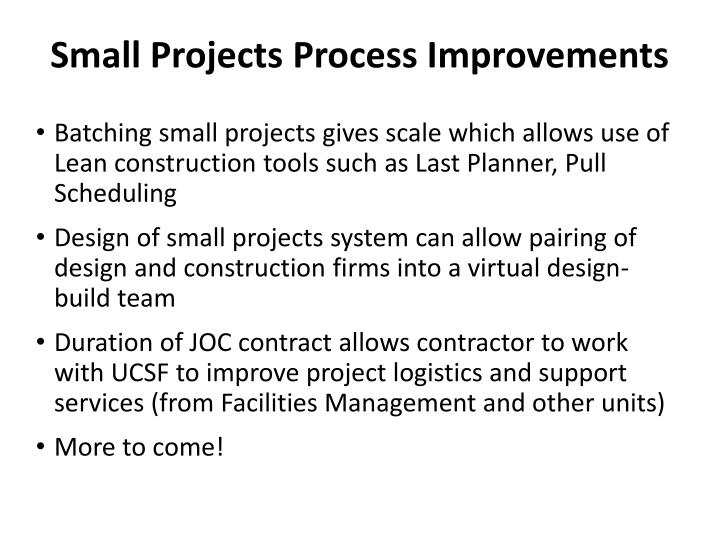Small Projects Process Improvements