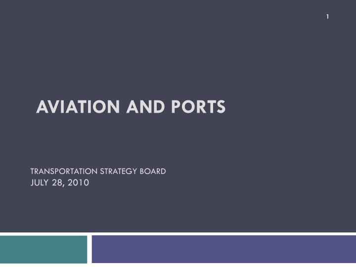 Aviation and ports transportation strategy board july 28 2010