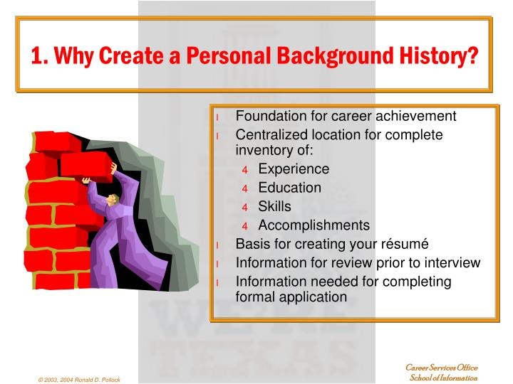 1. Why Create a Personal Background History?