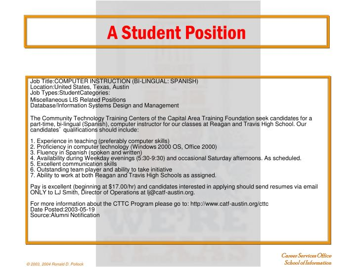 A Student Position