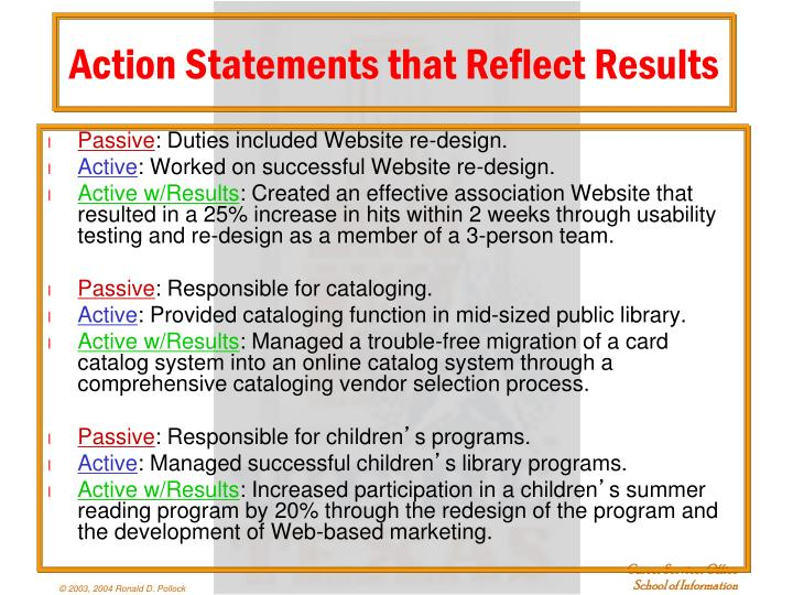 Action Statements that Reflect Results