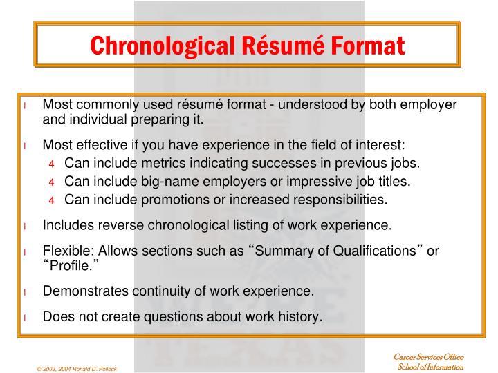 Chronological Résumé Format
