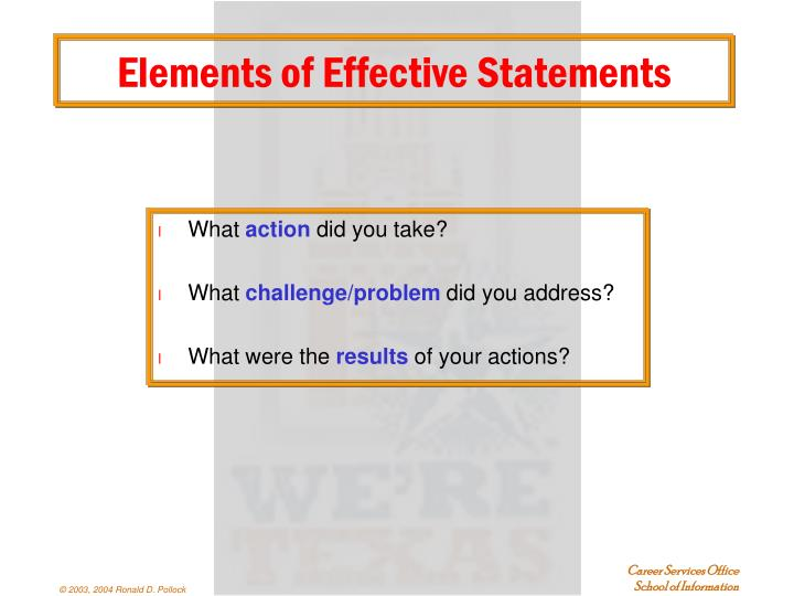 Elements of Effective Statements
