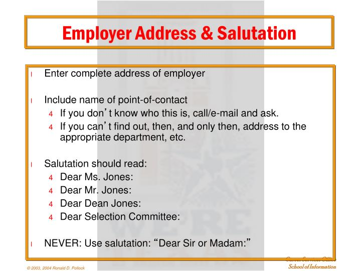 Employer Address & Salutation