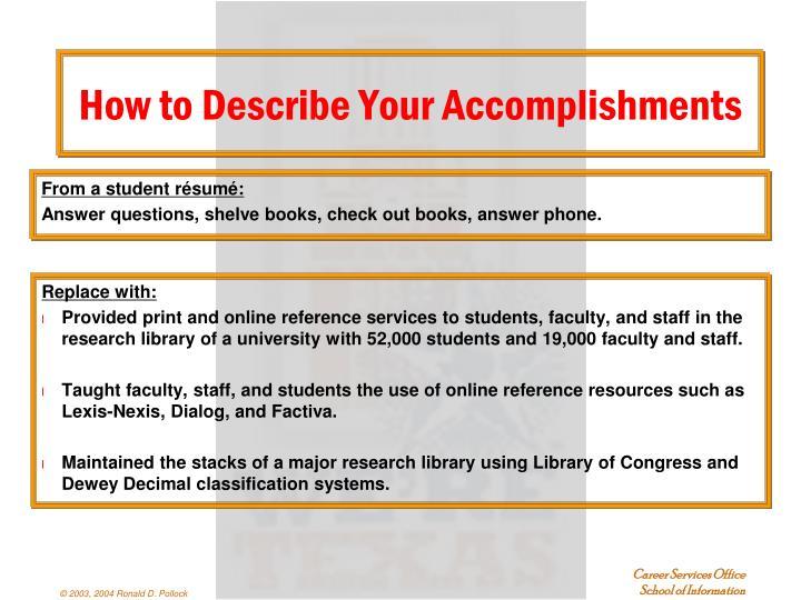 From a student résumé:
