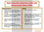 match education experience skills with requirements duties skills