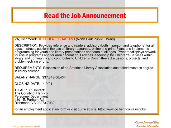 Read the Job Announcement