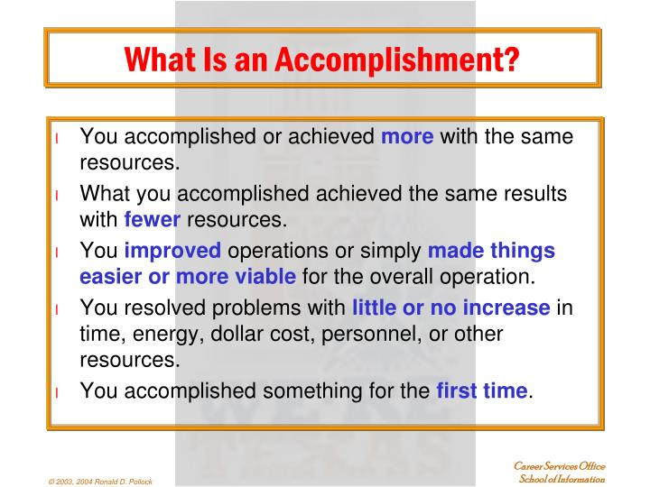 What Is an Accomplishment?