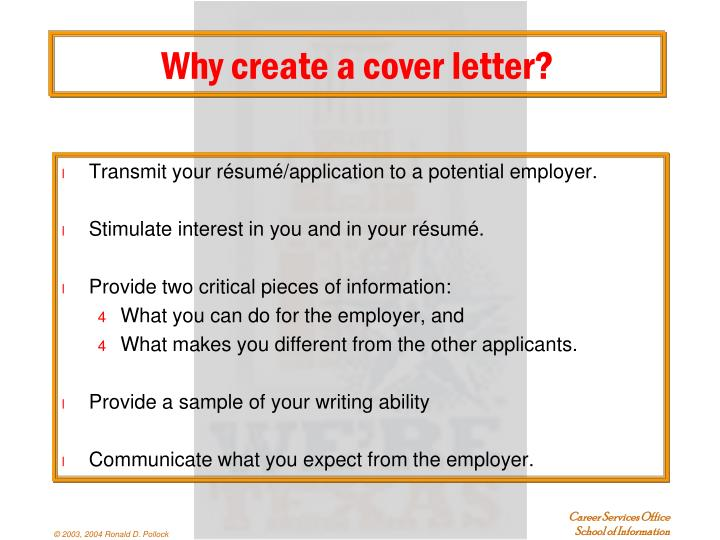 Why create a cover letter?
