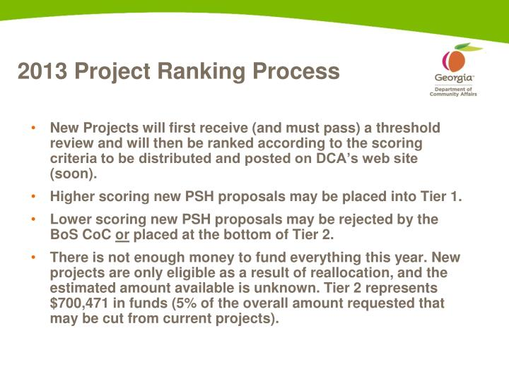 2013 Project Ranking Process