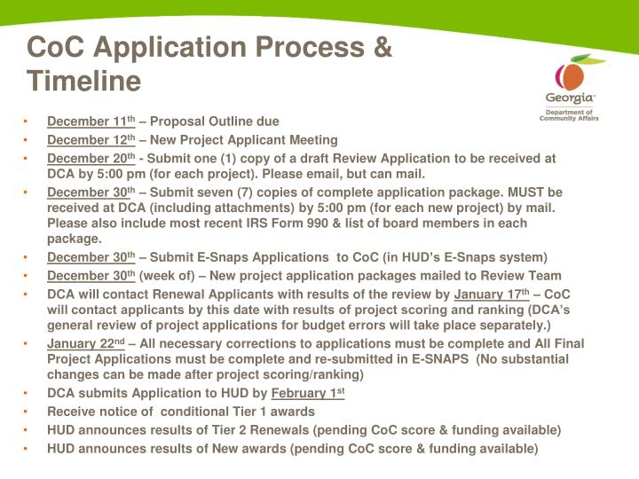 CoC Application Process & Timeline