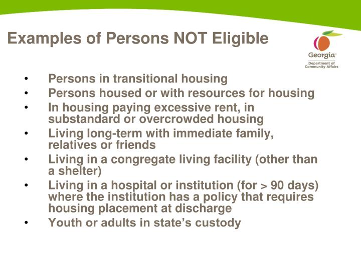 Examples of Persons NOT Eligible