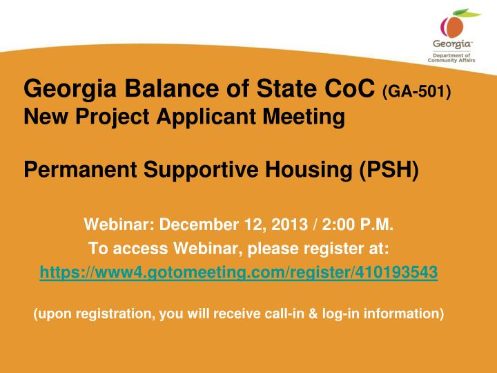 Georgia balance of state coc ga 501 new project applicant meeting permanent supportive housing psh