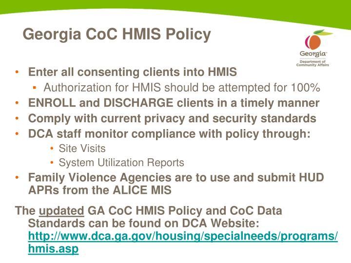 Georgia CoC HMIS Policy