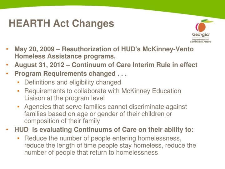 HEARTH Act Changes