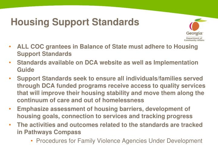 Housing Support Standards