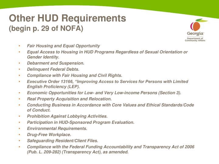 Other HUD Requirements
