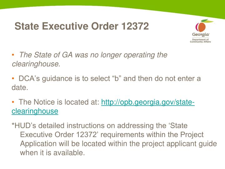 State Executive Order 12372