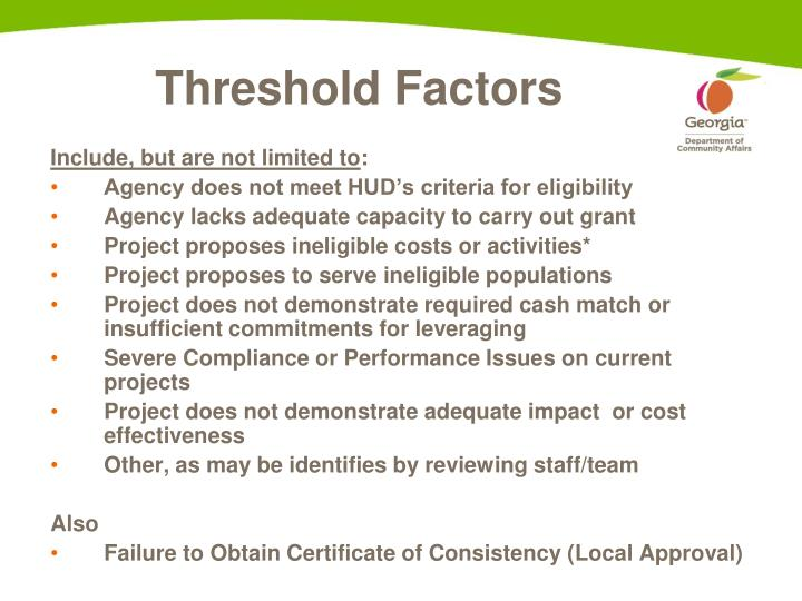 Threshold Factors