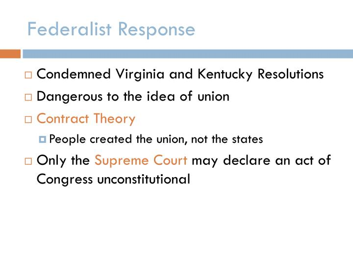 Federalist Response