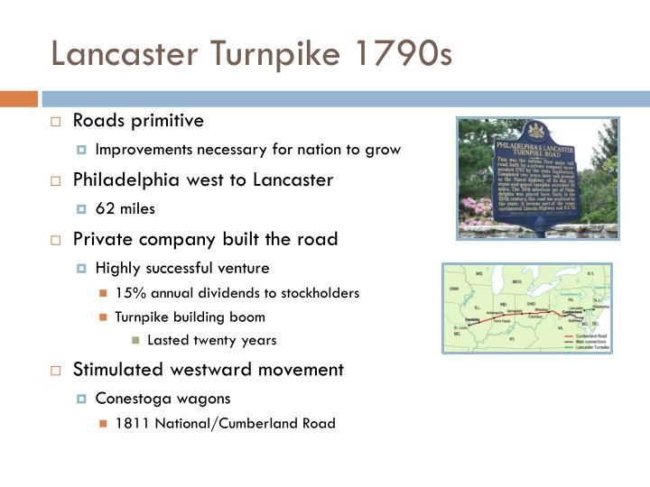 Lancaster Turnpike 1790s