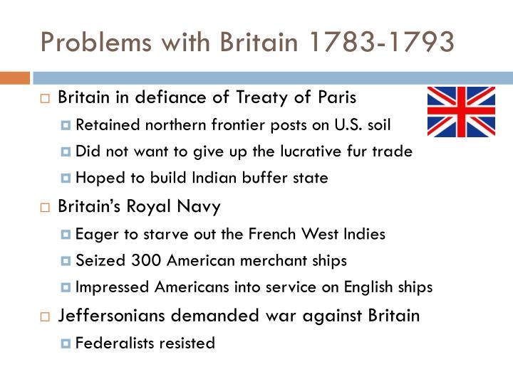 Problems with Britain 1783-1793