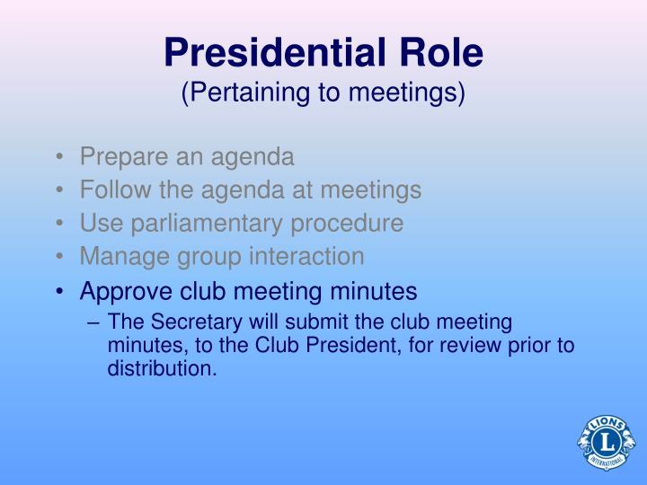 Prepare an agenda