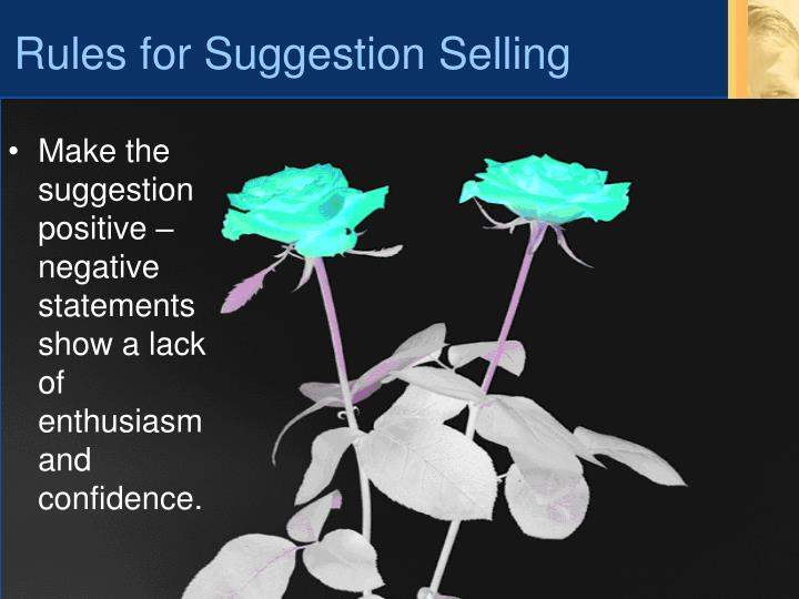 Rules for Suggestion Selling