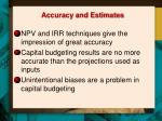 accuracy and estimates