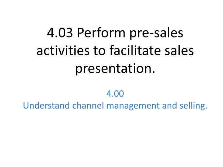 4 00 understand channel management and selling