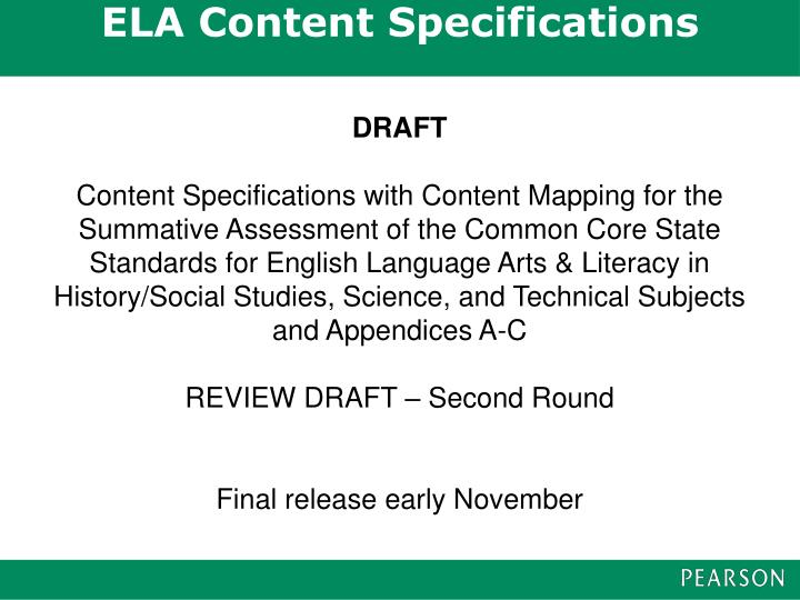 ELA Content Specifications