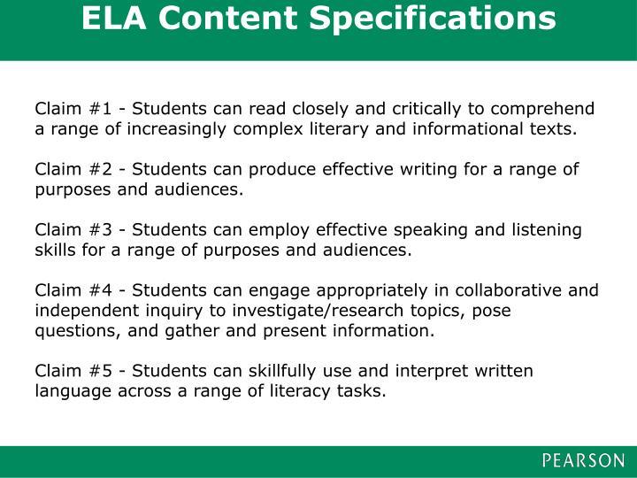ELA Content Specifications