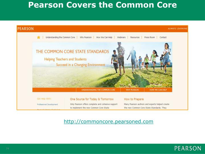 Pearson Covers the Common Core