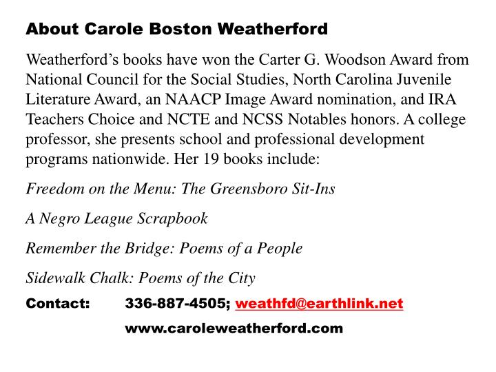 About Carole Boston Weatherford