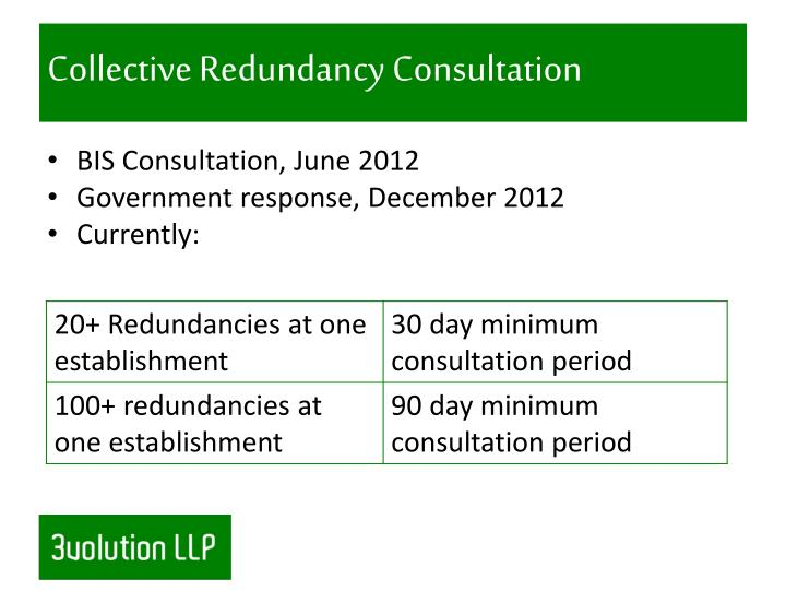 Collective Redundancy Consultation