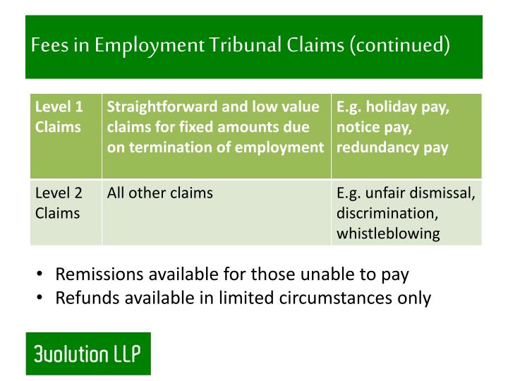 Fees in Employment Tribunal Claims (continued)