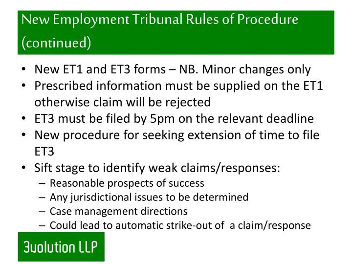 New Employment Tribunal Rules of Procedure (continued)
