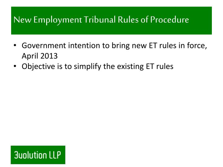 New Employment Tribunal Rules of Procedure