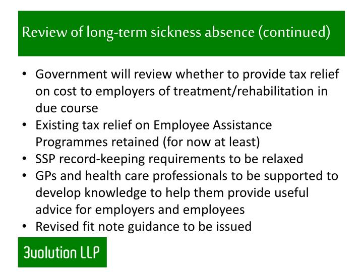 Review of long-term sickness absence (continued)