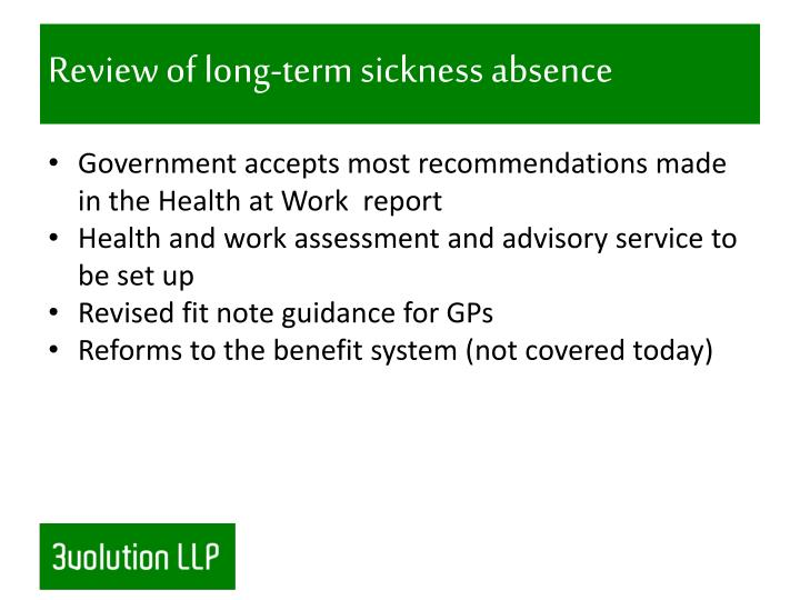 Review of long-term sickness absence