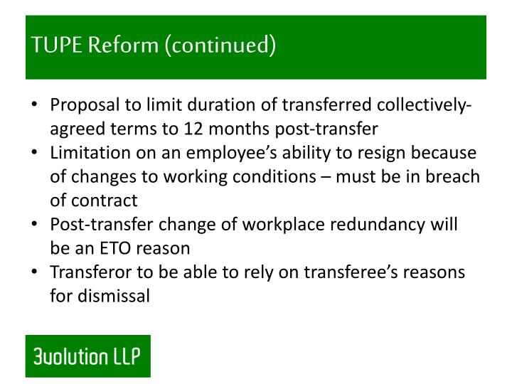 TUPE Reform (continued)