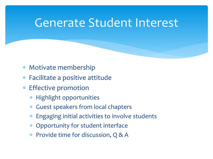 Generate student interest