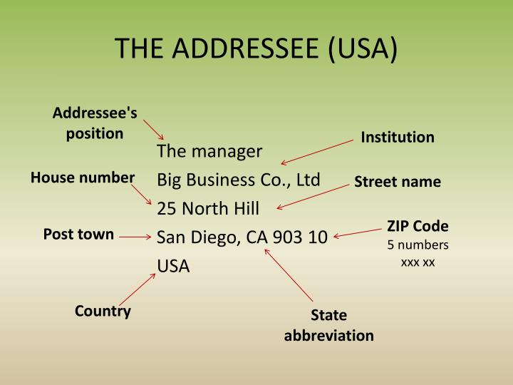 THE ADDRESSEE (USA)