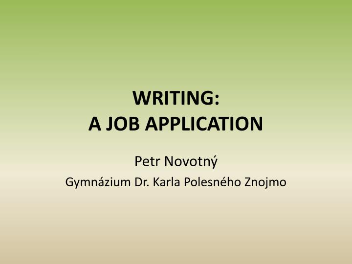 Writing a job application